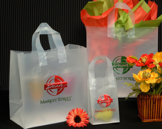 Frosted Clear Plastic Shopping Bag - Loop Handles