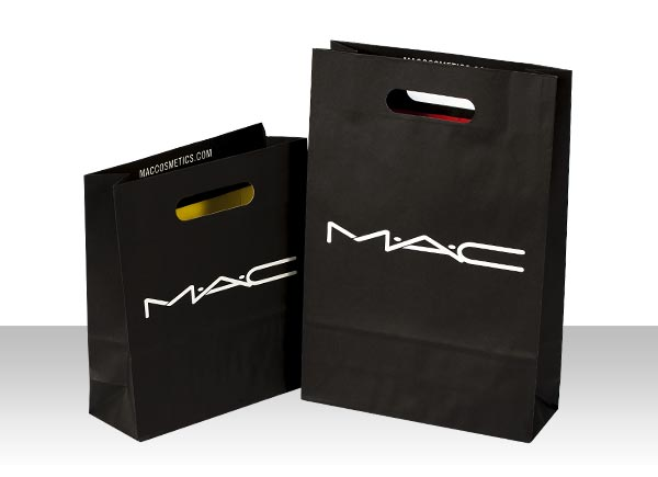 die cut handle designer paper shopping bags Mac Cosmetics