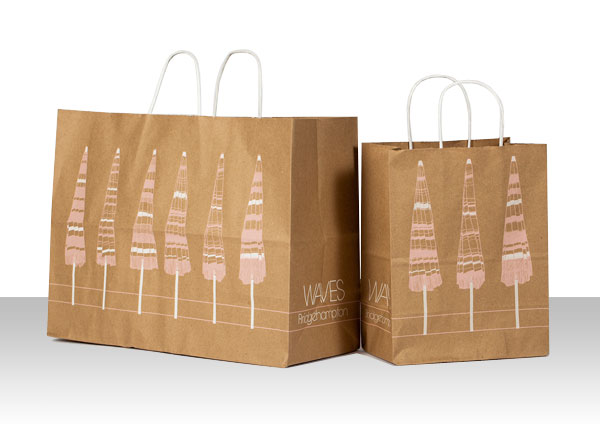 customized retail paper shopping bags waves