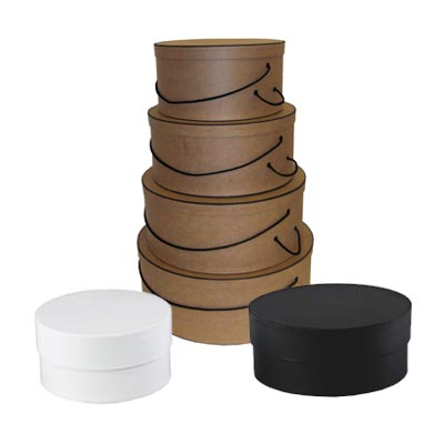 circular boxes and round hat boxes