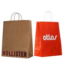 Custom Shopping Bags with Paper Twisted Handles Kraft Recycled