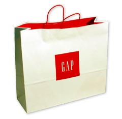 gap shopping bags made of kraft paper with twisted handle and serrated top edge