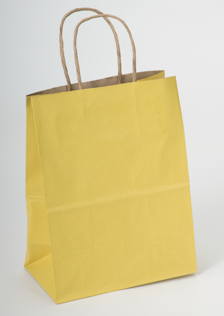 Yellow Stripe Kraft Shopping Bags