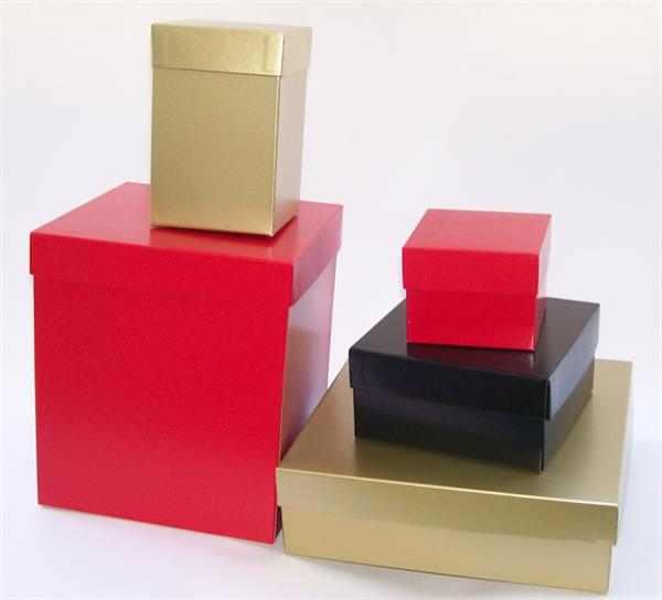Giftware Boxes, 2-Piece Folding, Hi-Wall with Universal Fit Rigid Lids - Gold, Red, Black