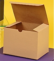 100% Recycled 1-Piece Giftware Box: Tuck-It - Oatmeal Pinstripe