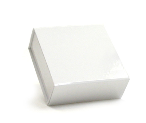 glossy white magnetic retail folding boxes 3-1/2 x 3-5/8 x 1-1/2