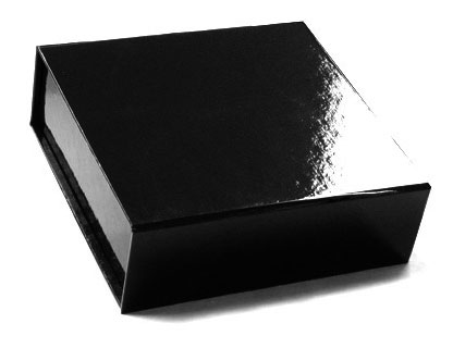 glossy black magnetic retail folding boxes 5-1/2 x 5-1/2 x 1-3/4