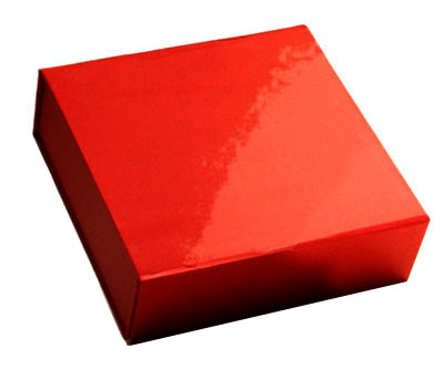 glossy red magnetic retail folding boxes 3-5/8 x 3-1/2 x 1-1/2