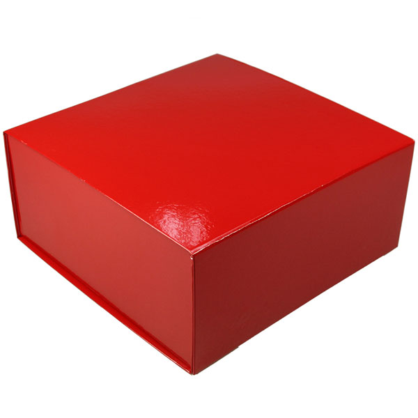 glossy red magnetic retail folding boxes 10 x 10 x 4-1/2