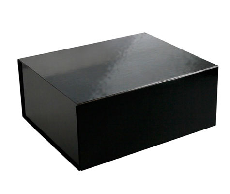 glossy black magnetic retail folding boxes 13 x 10-3/4 x 5-1/2
