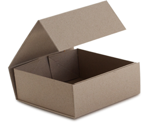Interior Open View Natural Kraft Magnetic Snap Closure Retail Folding Boxes