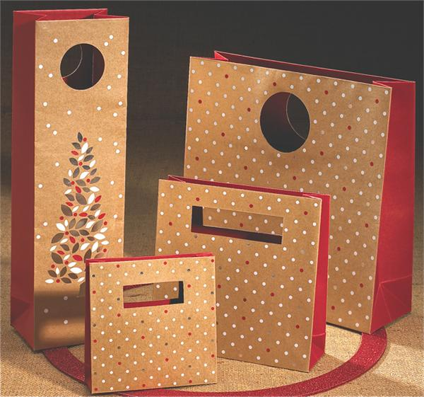 80% Recycled 'MOD' Paper Shopping Bag - Holiday Dots on Kraft