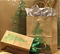 Kraft Shopping Bag with Green Fir Tree