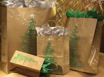 Fir Tree on Kraft Paper Shopping Bag