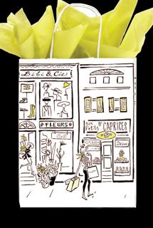 """Paper Shopping Bag - Paris City Skyline (8"""" x 10-1/2"""" Petite Size)"""
