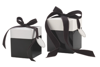 30% Recycled 2-Piece Giftware Box: Black with White Lid and Black Ribbon