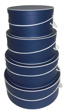 Navy Blue with White Trim Hat Boxes, nested