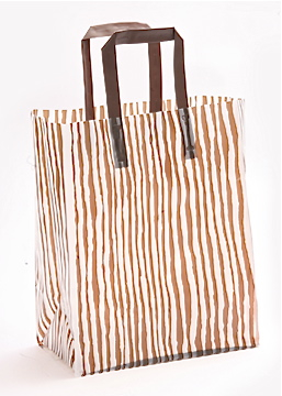 Plastic Shopping Bag with Tri-Fold Handles - BROWN BAMBOO