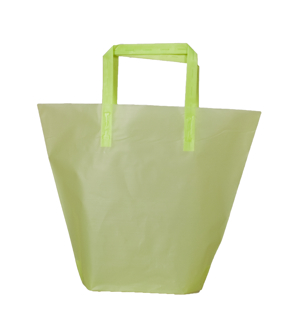 Frosted Plastic Trapezoid Shopping Bag with Tri-Fold Handles - Lime
