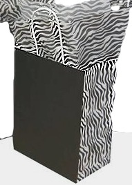 Kraft Paper Shopping Bag with Printed Sides - Black with Zebra Sides
