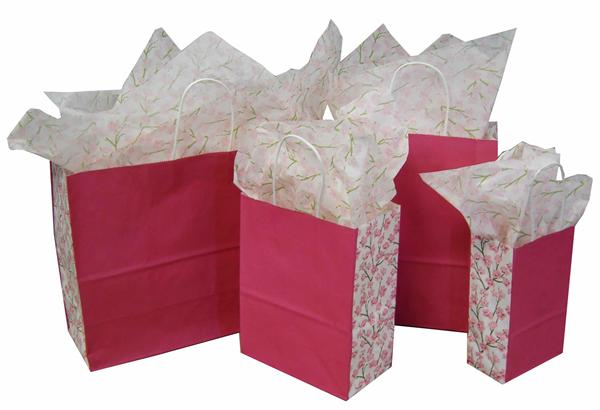 Kraft Paper Shopping Bags - Pink with Cherry Blossoms