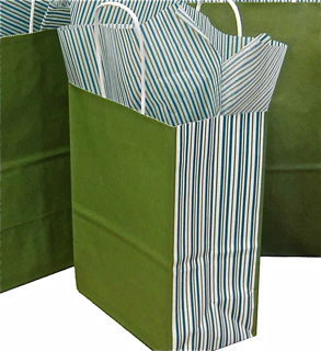 Kraft Paper Shopping Bag with Printed Sides - Green Tea with Striped Sides