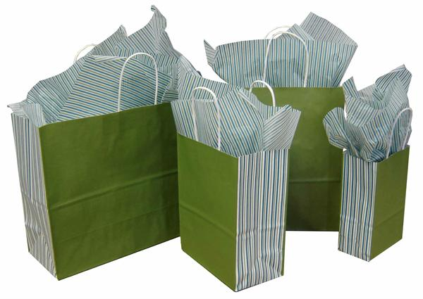 White Kraft Paper Shopping Bag - GREEN TEA with Stripes