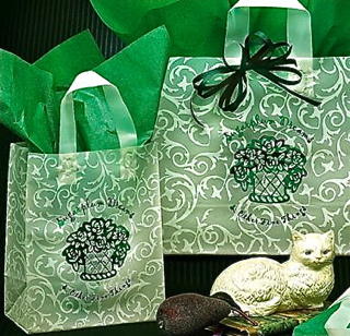 Frosted Plastic Shopping Bag with Loop Handles - Green & Ivory Scroll