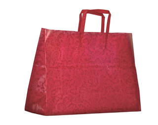 Red Paisley Pattern Reusable Plastic Shopping Bag