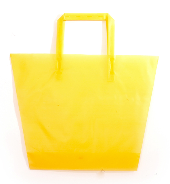 Frosted Plastic Trapezoid Shopping Bag with Tri-Fold Handles - Yellow Goldenrod