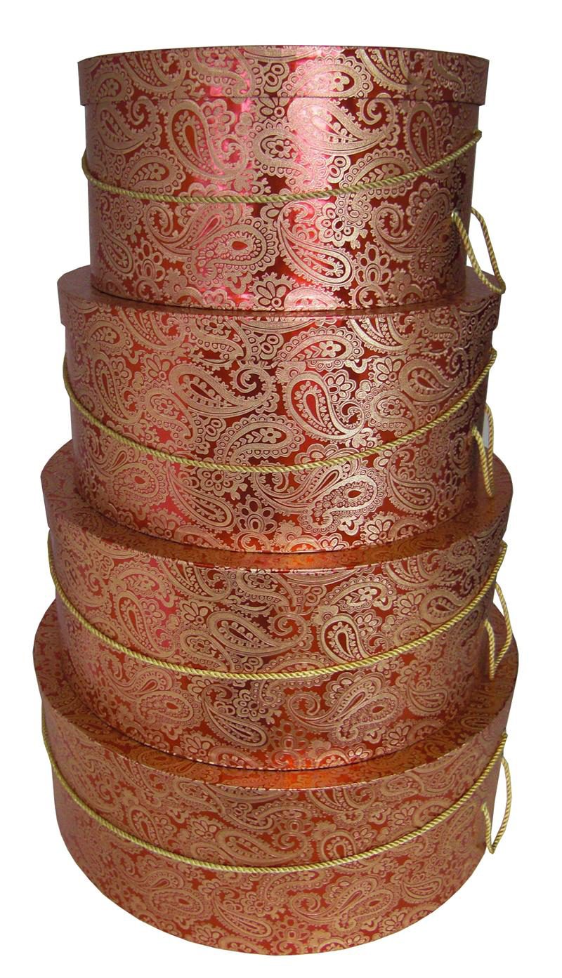 Red Paisley Hat Boxes Nested