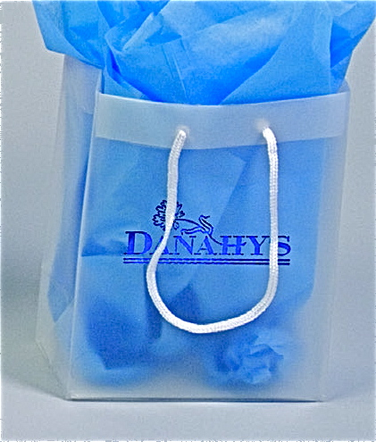 Frosted Plastic Tote Bag with Cord Handles
