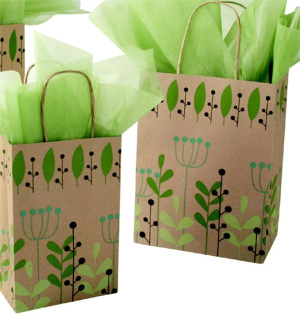 RECYCLED KRAFT Paper Shopping Bag with Paper Twisted Handles - Leaves & Berries