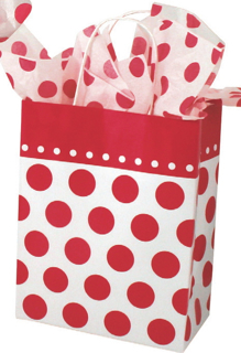 Paper Shopping Bag with White Paper Handles - Red and White Dots
