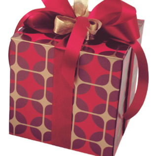 Recycled Paper Gift Box - red Bling Rouge pattern