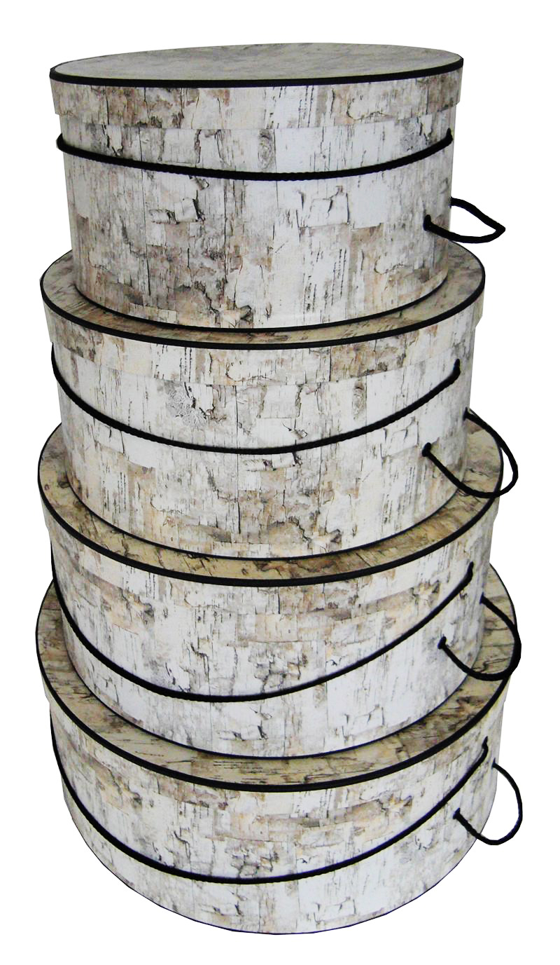 White Birch Hat Boxes Nested