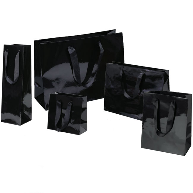 Gloss Black Euro Tote Paper Shopping Bags 5 Sizes