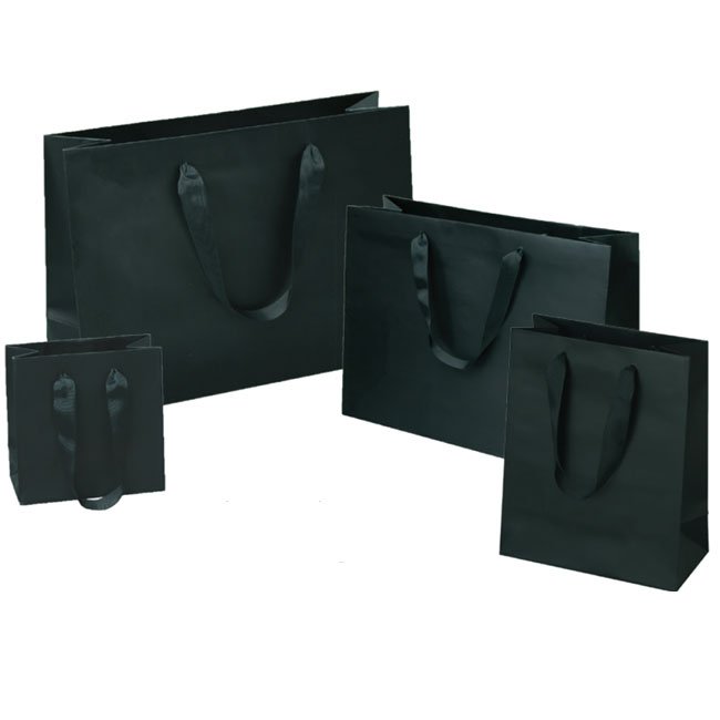 matte black paper euro totes with grosgrain ribbon handles 4 sizes