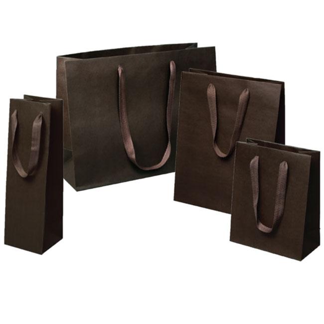 espresso dark brown euro tote paper shopping bags 4 sizes