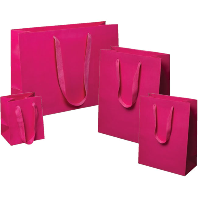 fuchsia pink euro tote paper shopping bags cotton twill handles 4 sizes