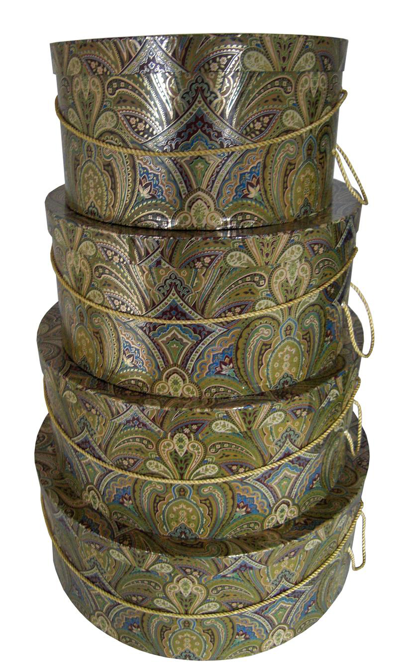 Golden Paisley Hat Box Nested