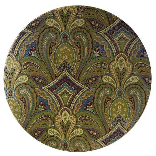 nested hat box lid showing golden paisley print pattern