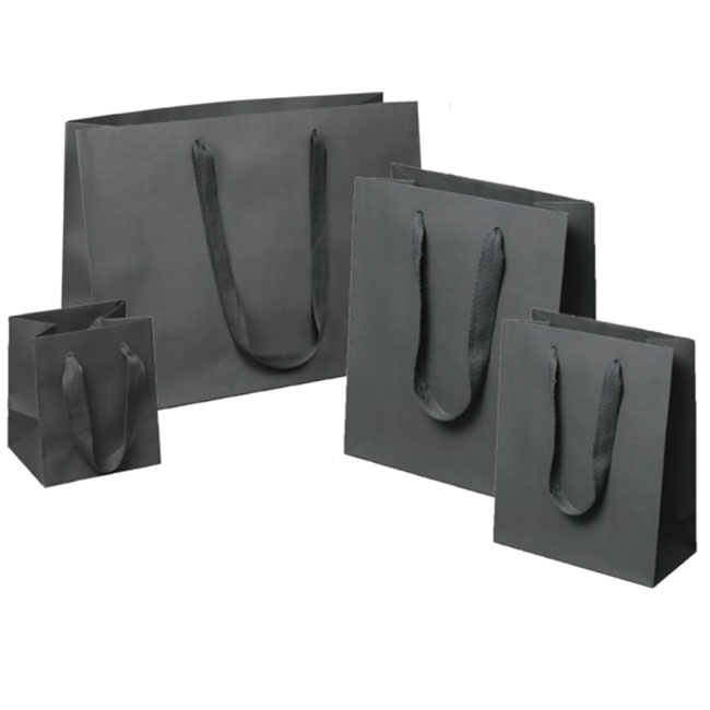 gray euro tote paper shopping bags with cotton twill handles 4 sizes