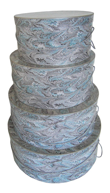 Hat Boxes - 4 Nested Round Boxes with Mixed Feather Exterior