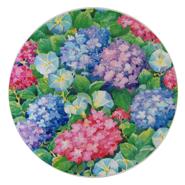 nested hat box lid showing hydrangea blooms print pattern