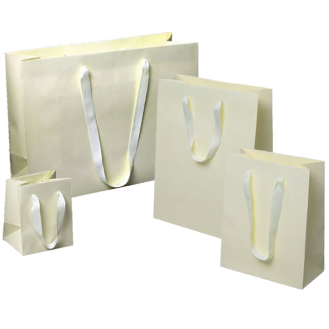 ivory euro tote paper shopping bags with matching cotton twill handles