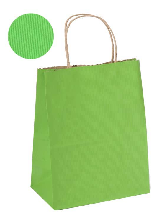 Bright Green Shadow Stripe Kraft Paper Shopping Bag
