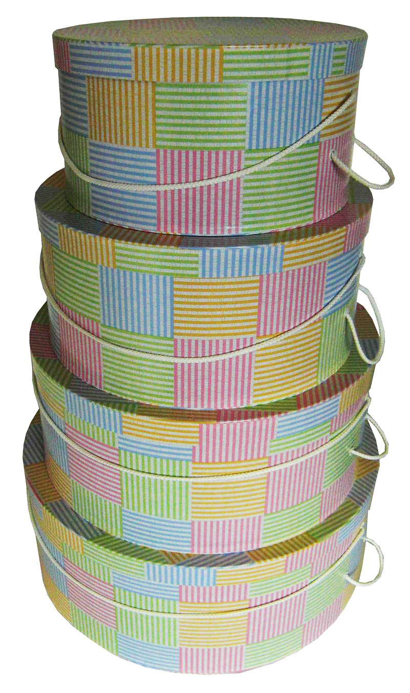 Madras Plaid Hat Boxes Nested
