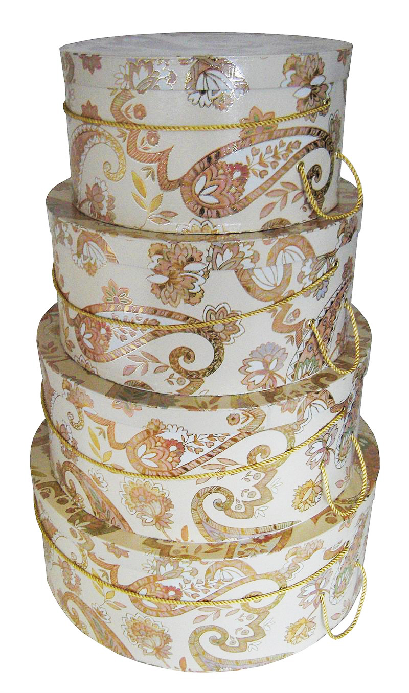 Multicolor Paisley Hat Boxes Nested