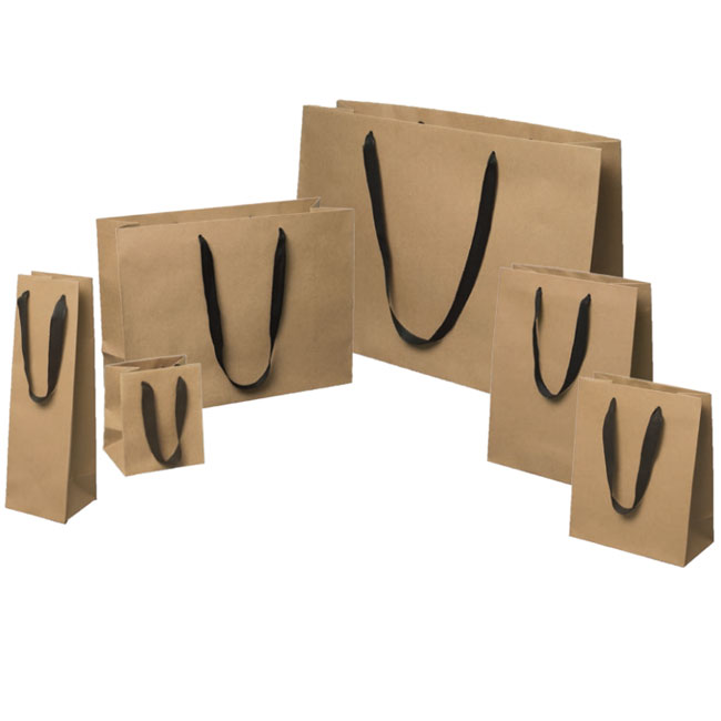 natural kraft paper euro totes black cotton twill ribbon handles 5 sizes